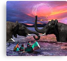 Fighting Elephants Justin Beck Picture 2015091 Canvas Print