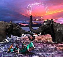 Fighting Elephants Justin Beck Picture 2015091 Photographic Print