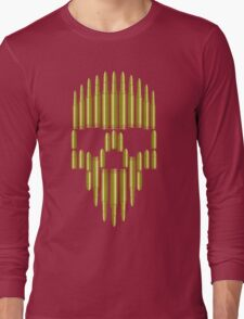 Bullets Skulls Maroon Tees Long Sleeve T-Shirt