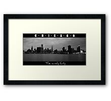 CHICAGO - The windy city in B&W Framed Print