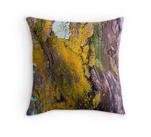 lichens on tree trunk, Mauna Kea Throw Pillow
