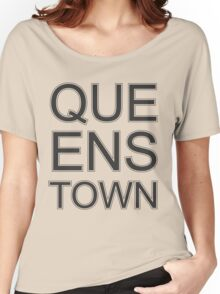 Queenstown Text in Black & White Women's Relaxed Fit T-Shirt