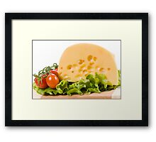 cherry tomatoes and yellow cheese Framed Print