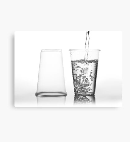 water into transparent expendable mug Canvas Print