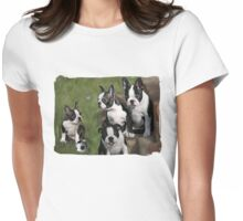 Boston Terrier Puppies... T Womens Fitted T-Shirt