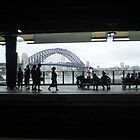 Sydney Harbour Bridge from inside the Circular Quay rail station by Vicki Hancock
