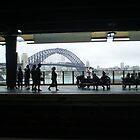 Sydney Harbour Bridge from inside the Circular Quay rail station by Vicki Hancock