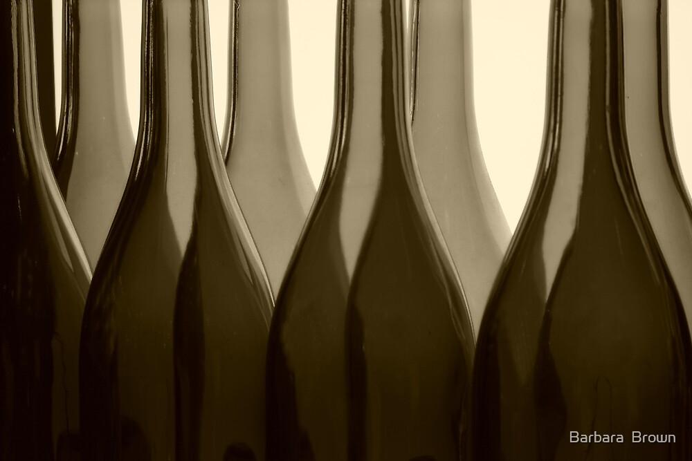 Wine Bottles in Sepia by Barbara  Brown