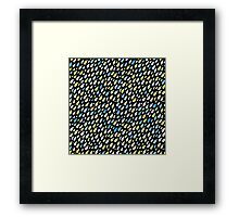 Rainy Day Pattern. Blue and yellow on black Framed Print