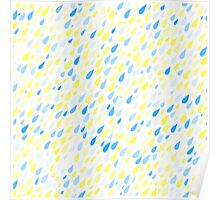 Rainy Day Pattern. Blue and yellow on white Poster