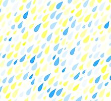Rainy Day Pattern. Blue and yellow on white by HelgaScand