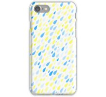 Rainy Day Pattern. Blue and yellow on white iPhone Case/Skin
