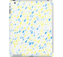 Rainy Day Pattern. Blue and yellow on white iPad Case/Skin