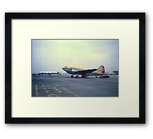 Curtis Commando & CL44 at Heathrow Airport, London. Framed Print