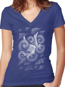 Crossing Clouds Women's Fitted V-Neck T-Shirt