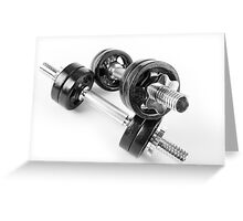 Chrome bolt on hand barbells weights Greeting Card