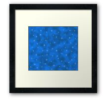 Abstract winter background with snowflakes and stars Framed Print