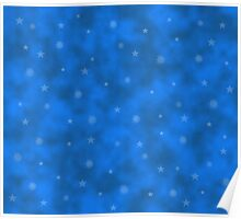 Abstract winter background with snowflakes and stars Poster