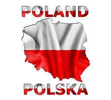 Poland Flag Country Outline by MarkUK97