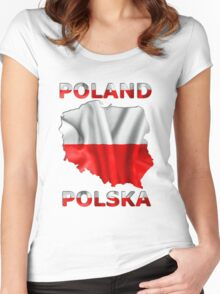 Poland Flag Country Outline Women's Fitted Scoop T-Shirt