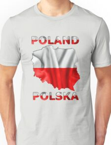 Poland Flag Country Outline Unisex T-Shirt