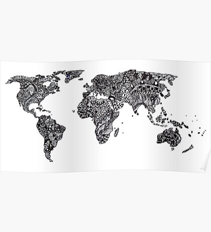 World Map in a parallel universe Poster