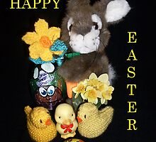 Happy Easter Bunny and Chics by missmoneypenny