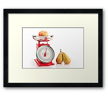 Kitchen red weight scale utensil Framed Print