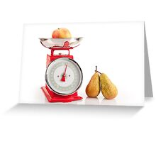 Kitchen red weight scale utensil Greeting Card