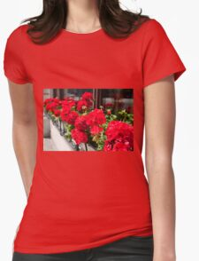 Bunches of vibrant red Pelargonium Womens Fitted T-Shirt