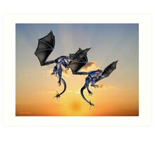 Dragons Battle for the Skies Art Print