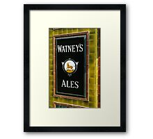 Watney's beer sign at Pub entrance, London, 1975, Framed Print