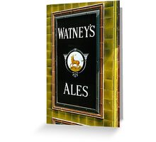 Watney's beer sign at Pub entrance, London, 1975, Greeting Card