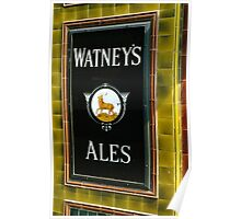 Watney's beer sign at Pub entrance, London, 1975, Poster