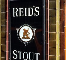 Reid's stout sign at Pub entrance, London, 1975, by David A. L. Davies