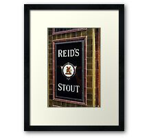 Reid's stout sign at Pub entrance, London, 1975, Framed Print