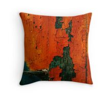 crunchy red painted wall Throw Pillow