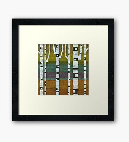 Birches with Chartreuse and Teal Framed Print