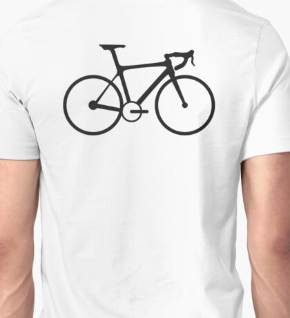 Bicycle, Racing Bike, Road Bike, Racing bicycle, Black on White Unisex T-Shirt