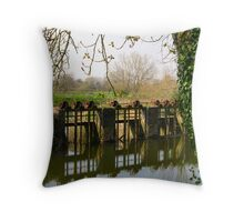 sluice gate on the river Stour, by Fiddleford Mill Throw Pillow