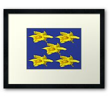 DAFFODILS ON BLUE Framed Print