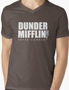 Dunder Mifflin The Office Logo Mens V-Neck T-Shirt