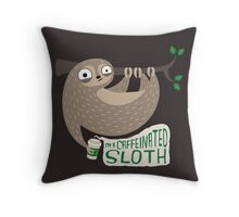 Caffeinated Sloth Throw Pillow