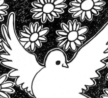 Flovers and pigeon Sticker