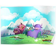 Cute monsters in the nature Poster