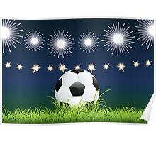 Soccer Ball and Night Stadium Poster