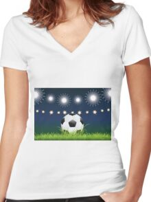 Soccer Ball and Night Stadium Women's Fitted V-Neck T-Shirt