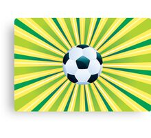 Soccer Ball on Green Background Canvas Print