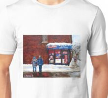 MONTREAL WINTER STREETS BEST MONTREAL PAINTINGS POUTINE LAFLEUR VERDUN CITY SCENE Unisex T-Shirt