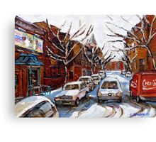 MONTREAL ART FAIRMOUNT BAGEL IN WINTER WITH COCA COLA TRUCK PLATEAU MONTREAL STREET SCENE Canvas Print